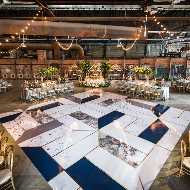 Gorgeous dancefloor in blue, gold, and marble for Toronto wedding at Evergreen Brickworks - Arora Events, Toronto's best wedding and event planners!
